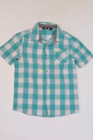 Mr. Price Turquoise Plaid Shirt Boys 7-8 years