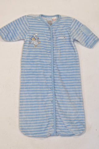Paddington Bear Blue Stripe Velour Sleep Sack Boys 0-6 months