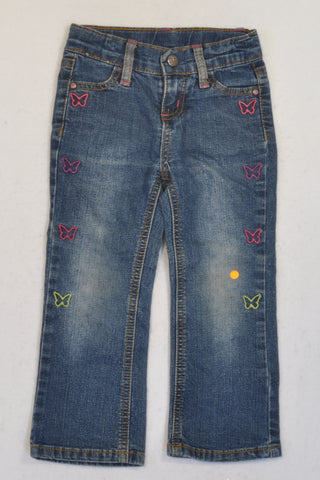 Woolworths Stone Washed Embroidered Butterfly Jeans Girls 2-3 years