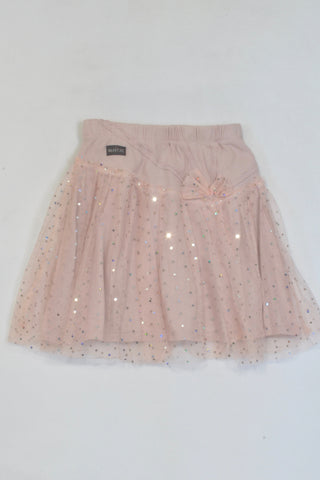 Naartjie Blush Pink Jewelled Net Skirt Girls 8-9 years
