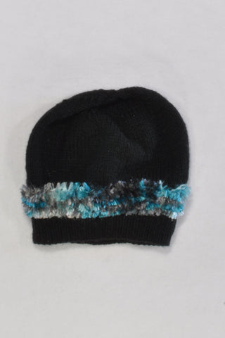 Black Beanie with Fuzzy Detail Black & Teal Girls 4-5 years