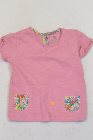 Next Pink Floral Detail T-shirt Girls 6-9 months