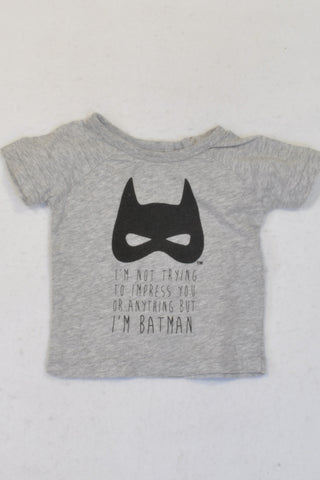 Cotton On Grey Batman T-shirt Boys 3-6 months