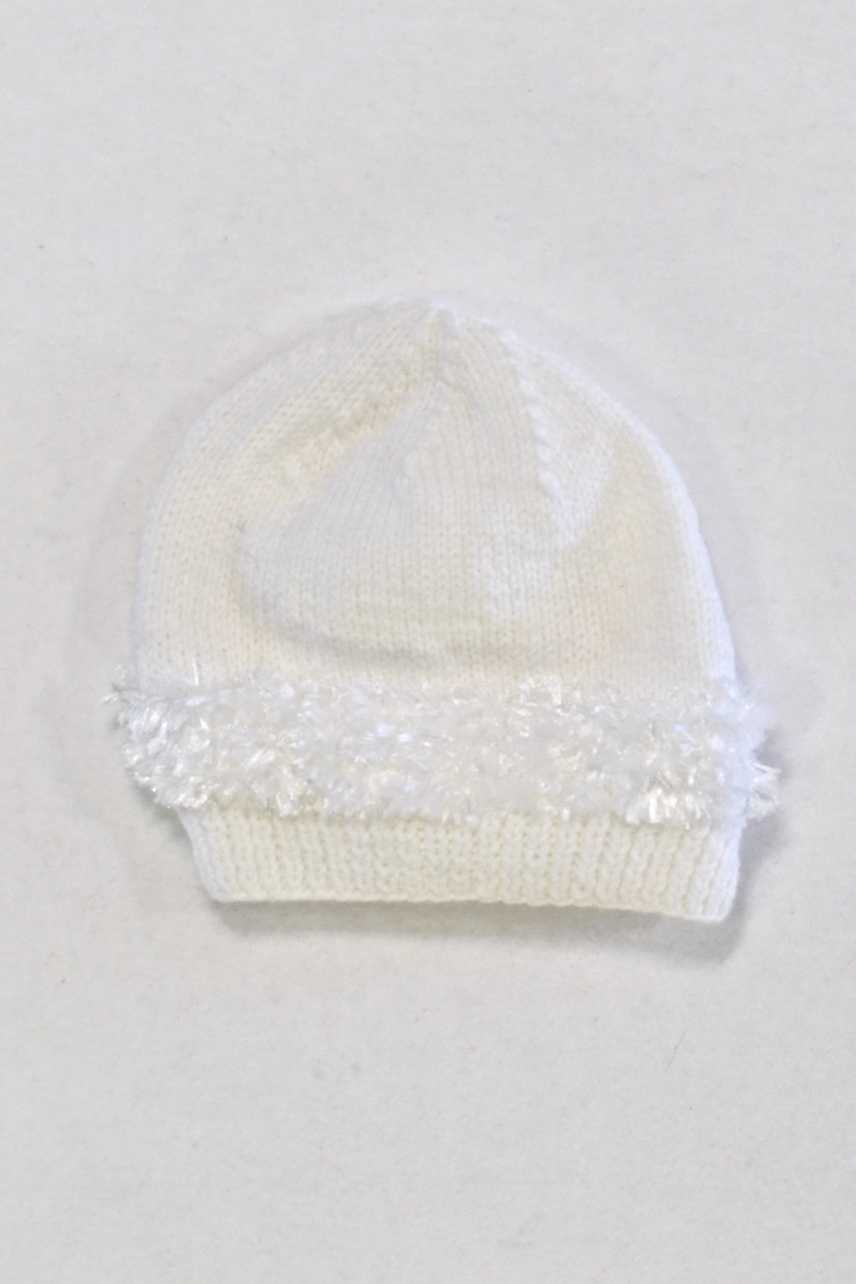 White Beanie with Fuzzy Detail White Girls 3-4 years – Once More 12b3f436051