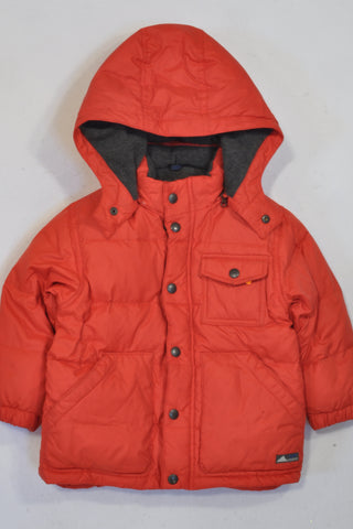 Gap Red Fleece-Lined Down Puffer Jacket Unisex 2-3 years