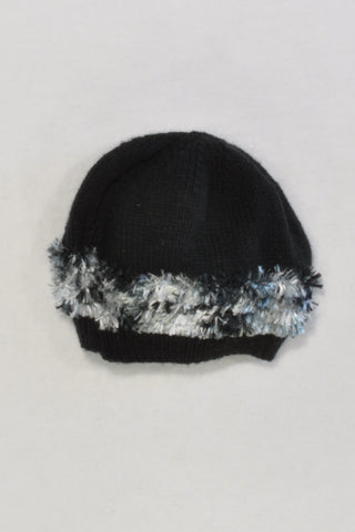 Black Beanie with Fuzzy Detail Black & White Girls 3-4 years