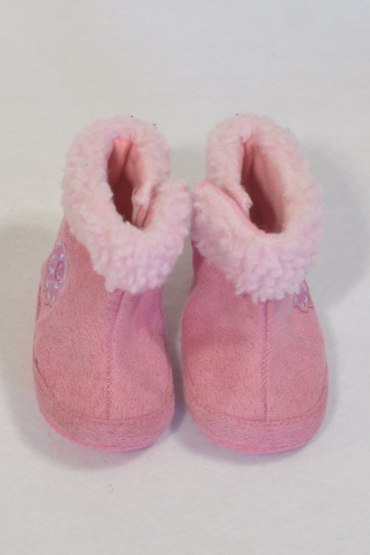 New Woolworths Pink Size 2 Velour Daisy Boots Girls 6 9 months