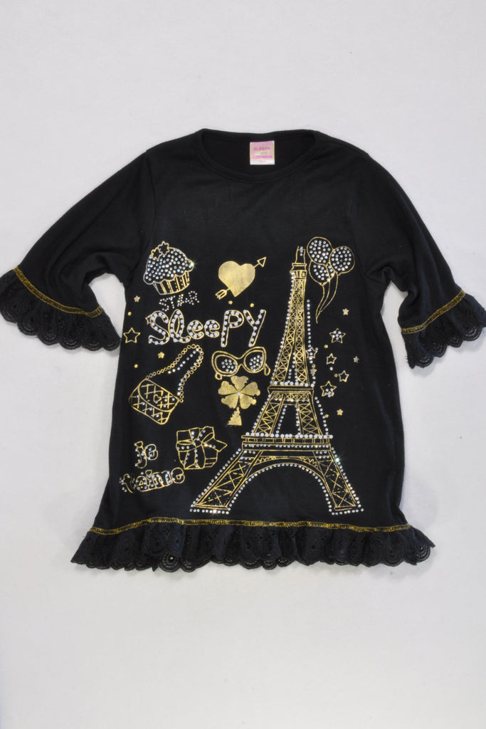 Black Parisian Fancy Sleep Nighty Girls 1-2 years