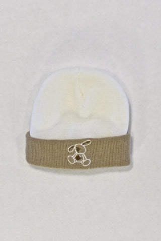 Cream and Brown Character Beanie Unisex 3-6 months