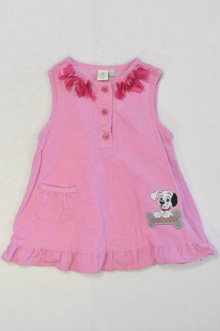 101 Dalmatians Pink Corduroy Dress Girls 12-18 months