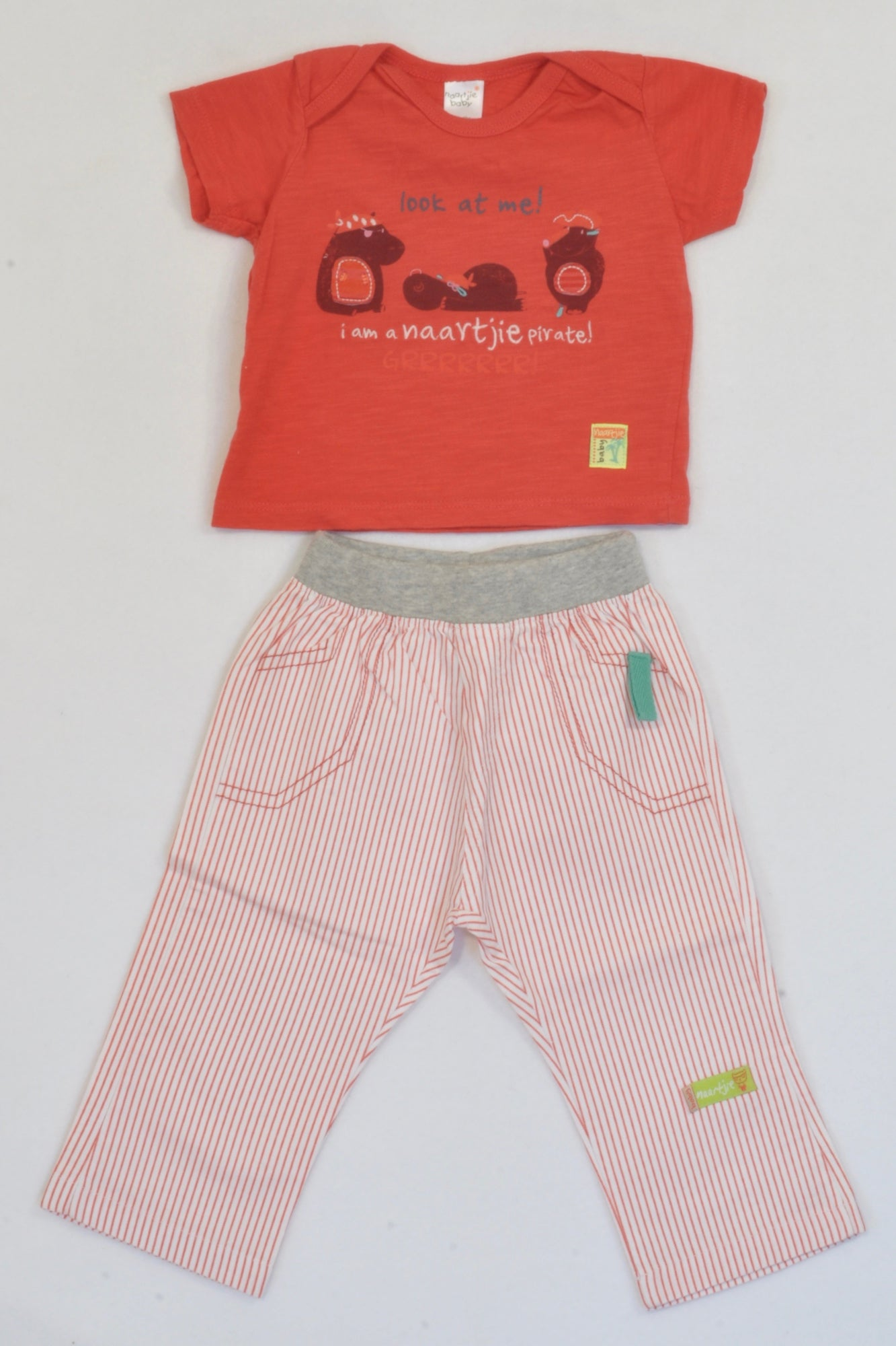 Naartjie Red  T-shirt & Banded Pants Pirate Outfit Boys 0-3 months