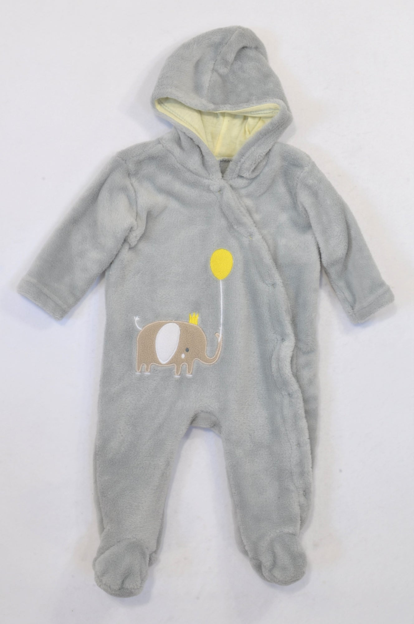 Ackermans Grey & Yellow Balloon Coral Fleece Onesie Boys 3-6 months