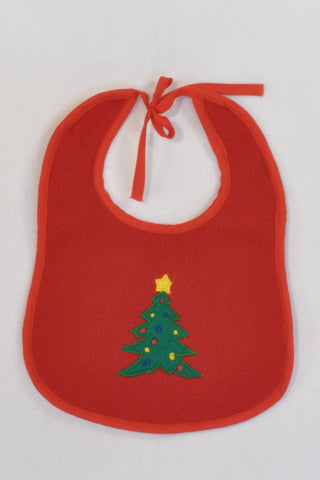 Christmas Tree Red Fleece Bib Unisex 3-6 months