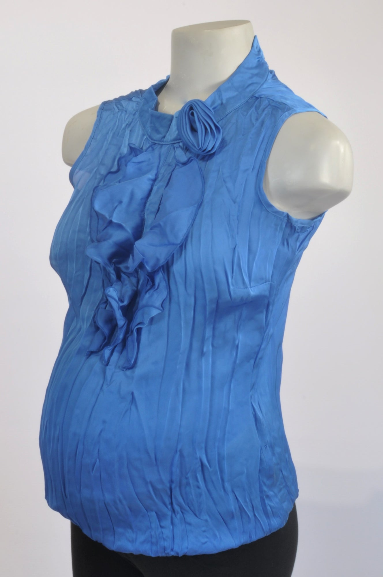 Contempo Blue Ruffle Satin Rose Maternity Blouse Size 10