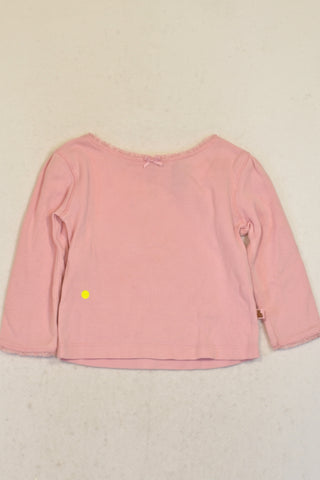 Gap Soft Pink Frill Trim Top Girls 6-12 months