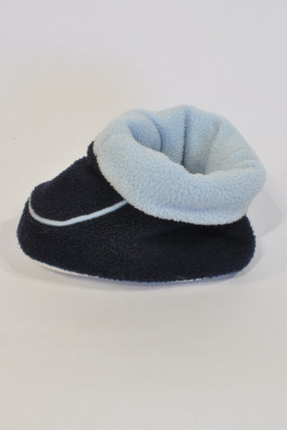 Navy Folded Soft Slipper shoes Boys 6-9 months
