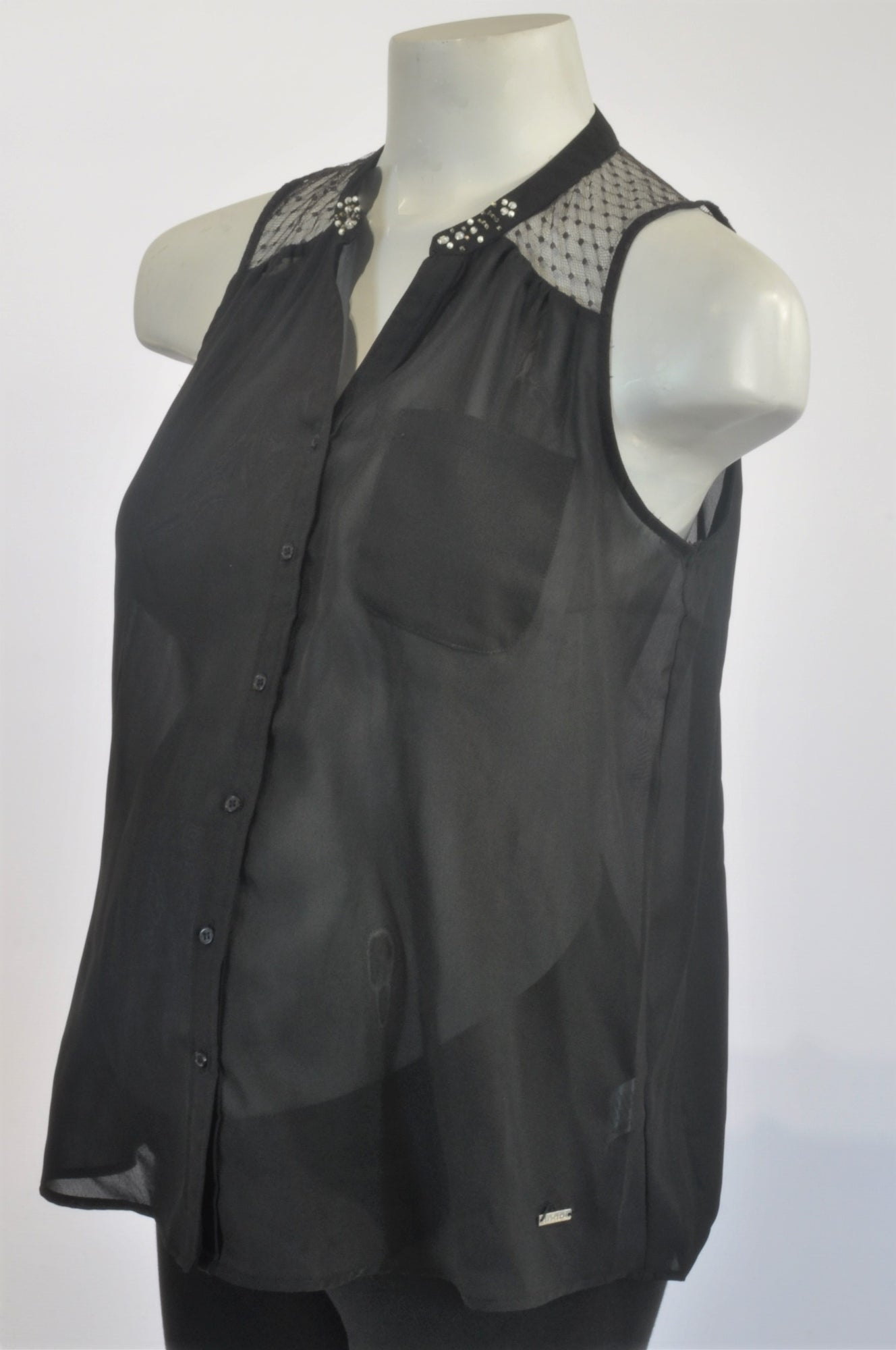 Cherokee Black Sheer Diamante Maternity Blouse Size XS