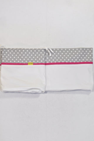 Banini Grey & White Polka Dot Set of Two Cot Bumper Covers Girls N-B