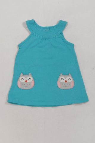 Teal Owl Dress Girls 6-9 months