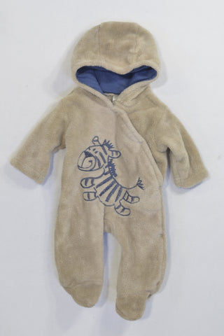 Beige Zebra Hooded Fleece Onesie Boys N-B