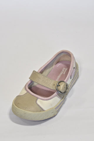 Timberland Earthkeepers Leather Cream And Purple Mary Jane Shoes Girls 4-5 years