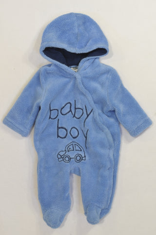 Blue Baby Boy Hooded Fleece Onesie Boys N-B