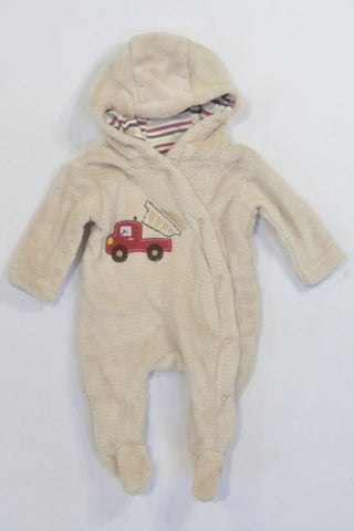Beige Red Truck Hooded Fleece Onesie Boys N-B