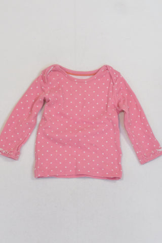 Marks And Spencer Pink Polka Dot Long Sleeve T-shirt Girls 3-6 months