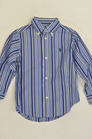 New Ralph Lauren Blue And White Stripe Shirt Boys 2-3 years