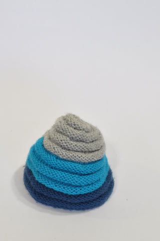 Blue And Grey Ribbed Beanie Boys 3-6 months