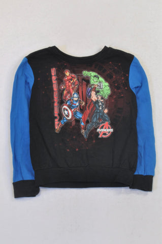 Marvel Avengers Blue Sleeved Black Sweatshirt Top Boys 5-6 years