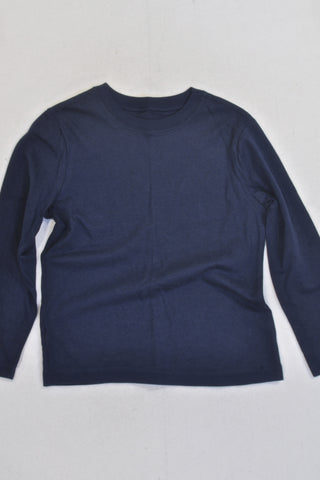 New Woolies Navy Basic Long Sleeve T-shirt Boys 4-5 years