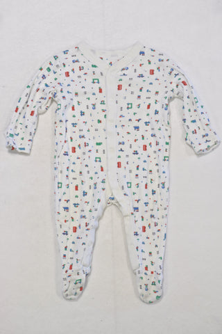 M&S White Vehicle Pattern Onesie Boys 3-6 months