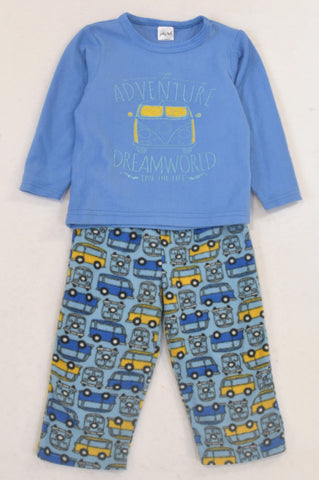 Jolly Tots Blue Fleece Mini Bus Pyjamas Boys 18-24 months