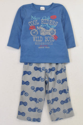 Jolly Tots Blue & Grey Fleece Motorcycle Pyjamas Boys 18-24 months