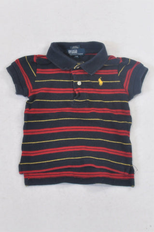 Ralph Lauren Navy & Red Stripe Golf T-shirt Boys 6-9 months