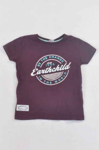 Earthchild Deep Purple Be The Change T-shirt Boys 18-24 months