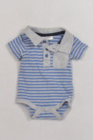 Blue And Grey Stripe Collar Baby Grow Boys N-B