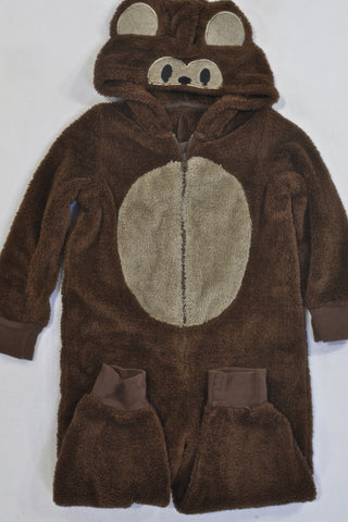 M&S Brown Monkey Onesie Boys 3-4 years