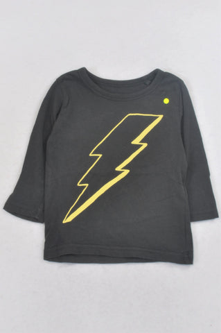 Cotton On Grey Lightning Bolt T-shirt Boys 12-18 months