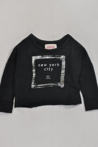 Black New York Silver Long Sleeve Top Girls 1-2 years