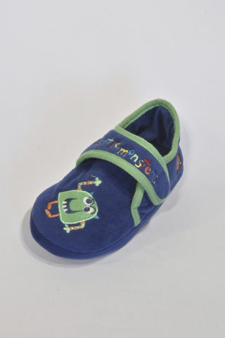 Blue And Green Little Monster Slippers Boys 4-5 years