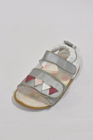 Shooshoos White And Silver Triangle Leather Sandals Girls 2-3 years