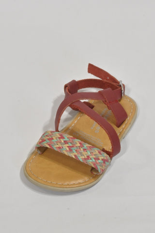 Leather Maroon Boho Sandals Girls 2-3 years