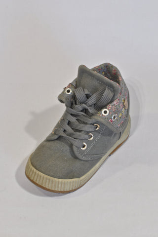 Grey Floral High Top Shoes Girls 2-3 years