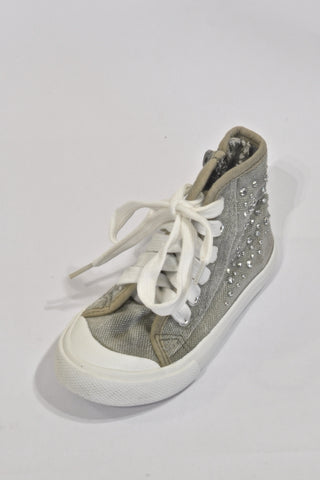 Grey Jeweled High Top Shoes Girls 2-3 years