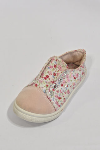 Pink Flower Sequin Shoes Girls 2-3 years