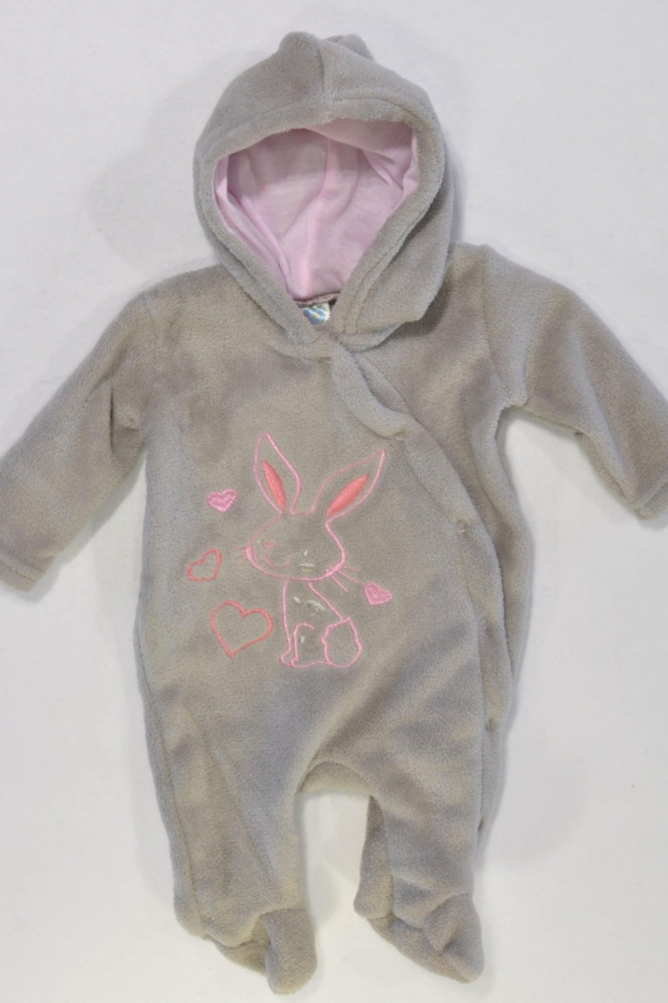 Grey Bunny Coral Fleece Hooded Onsie Girls N-B