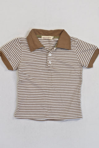 Brown And White Collar T-shirt Boys 2-3 years