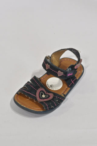 WalkMate Leather Navy Heart  Sandals Girls 2-3 years